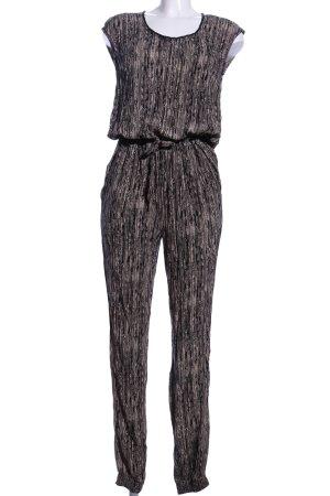 Passport Jumpsuit schwarz-braun abstraktes Muster Casual-Look