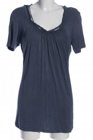 Passport Kurzarm-Bluse blau Casual-Look