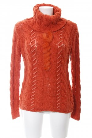 Passport Strickpullover rot Zopfmuster Casual-Look