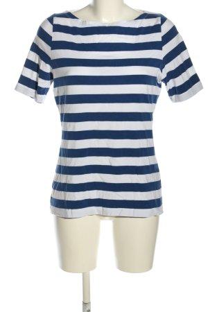 Passport T-shirt blu-bianco motivo a righe stile casual