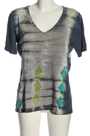 Passport Camisa con cuello V estampado con diseño abstracto look casual