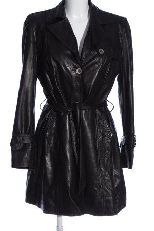 Patago Manteau en cuir noir style décontracté