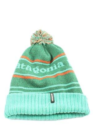 Patagonia Chapeau en tricot turquoise-vert lettrage imprimé style décontracté