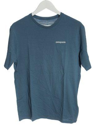 Patagonia T-Shirt blau Schriftzug gedruckt Casual-Look