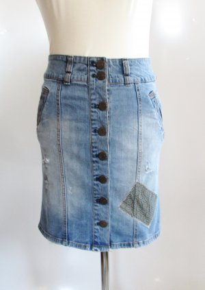 Patchwork Jeans Rock Größe 34 XS Blau Knopfleiste Washed out Faded Pencil Skirt Stretch