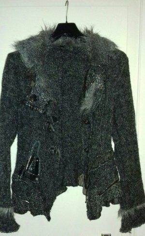 Juju & Christine Cardigan a maglia grossa nero-argento Fibra tessile