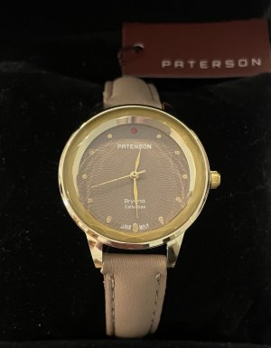Paterson Watch With Leather Strap gold-colored-beige