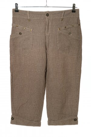 Patrice Breal 3/4 Length Trousers natural white-brown check pattern casual look