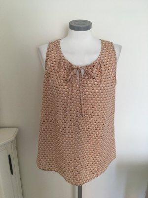 Patrizia Dini Heine Top Bluse Shirt apricot blush weiß schwarz 36 S