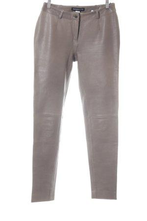 Patrizia Dini Pantalone in pelle marrone-grigio stile casual