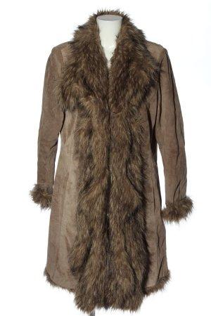Patrizia Dini Skórzany płaszcz brązowy W stylu casual