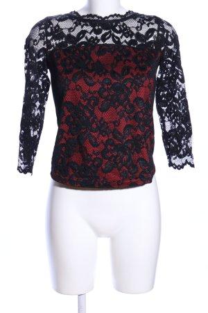 Patrizia Dini Spitzenbluse schwarz-rot Blumenmuster Elegant