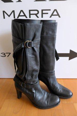 Patrizia Pepe Boho Leder Absatz Stiefel Schnallen schwarz Gr. 38