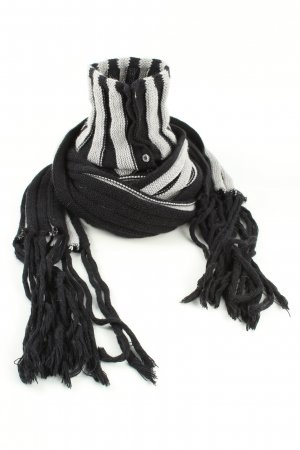 Patrizia Pepe Fringed Scarf light grey-black striped pattern casual look