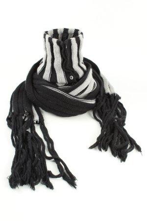 Patrizia Pepe Bufanda de flecos gris claro-negro estampado a rayas look casual