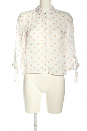 Patrizia Pepe Hemd-Bluse weiß-pink Allover-Druck Casual-Look