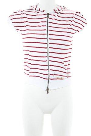 Patrizia Pepe Top à capuche blanc-rouge foncé motif rayé style décontracté