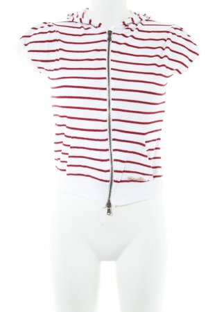Patrizia Pepe Hooded Shirt white-dark red striped pattern casual look