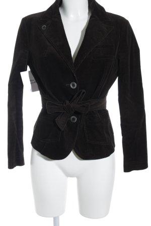 Patrizia Pepe Korte blazer zwart bruin gestreept patroon zakelijke stijl