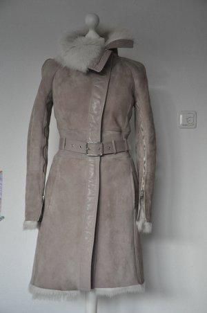 Patrizia Pepe Leather Coat beige-natural white leather