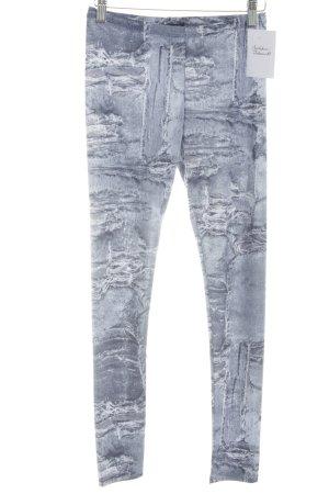 Patrizia Pepe Leggings steel blue-white abstract print athletic style