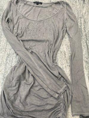 Patrizia Pepe Longshirt Shirt Tunika Gr. 1 Grau Sterne Glitzer