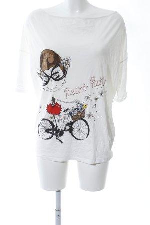 Patrizia Pepe Oversized Shirt weiß Motivdruck Casual-Look