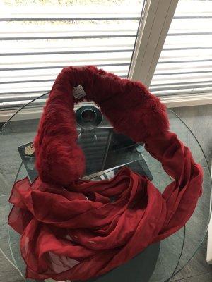 Patrizia Pepe Bufanda de seda rojo oscuro Pelaje
