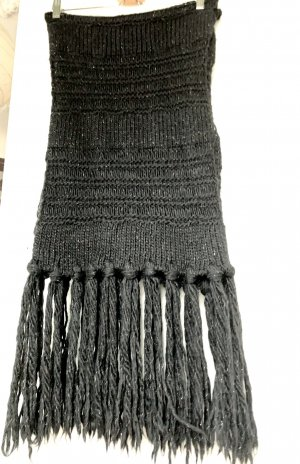 Patrizia Pepe Bufanda de lana negro-color plata