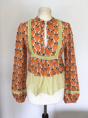 * PATRIZIA PEPE *  SEIDEN BLUSE langarm orange Print RETRO Gr 38 M ( it. 44)