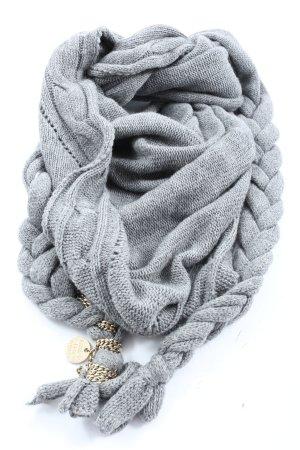 Patrizia Pepe Écharpe en tricot gris clair torsades style décontracté