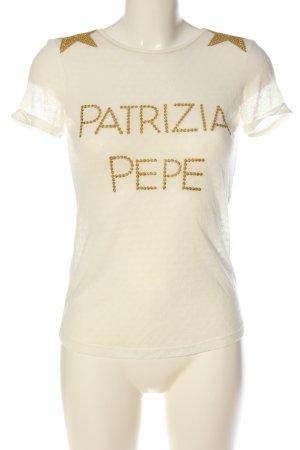 Patrizia Pepe T-Shirt wollweiß-goldfarben Schriftzug gestickt Casual-Look