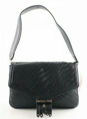 ♥PATRIZIA PEPE ♥Tasche schwarz gold gewebt ♥ Handtasche Schultertasche Leder SALE Angebot