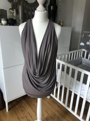 Patricia Pepe Cowl-Neck Top taupe-silver-colored