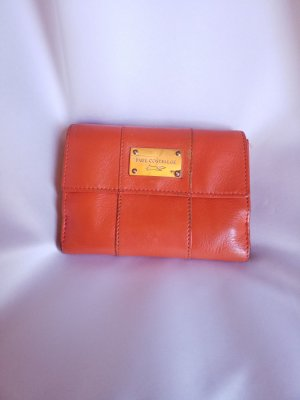 Paul Costelloe Leder-Geldbeutel orange viele Fächer
