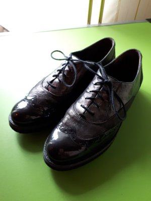 Paul Green Wingtip Shoes black-anthracite