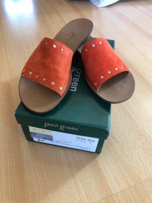 Paul Green Heel Pantolettes orange-silver-colored
