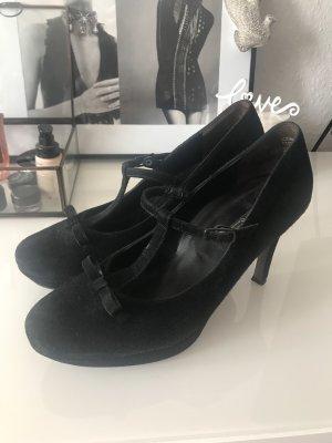 Paul Green Zapatos de tacón con barra en T negro Cuero