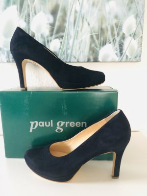 Paul Green Pumps Plateau blau Gr 39 Velour statt 120 eur