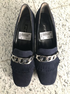 Paul Green Backless Pumps dark blue leather