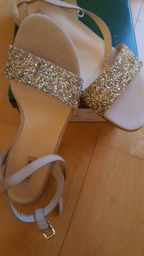 Paul Green High-Heeled Toe-Post Sandals cream-oatmeal leather