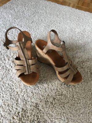 Paul Green Platform High-Heeled Sandal light brown leather