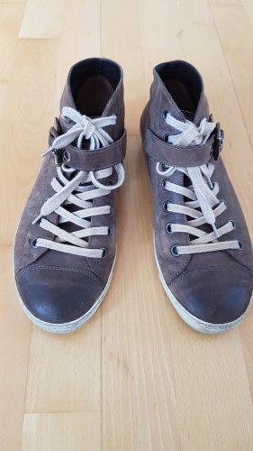 Paul Green Sneaker Highsneaker graubraun Leder Schnürer Gr. 5,5