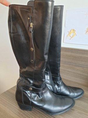Paul Green Stiefel Schwarz Leder Schuhe Stiefeletten Größe 38,5