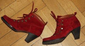 Paul Green Stivaletto stringato rosso scuro Scamosciato