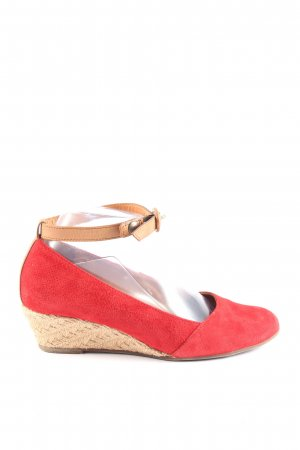 Paul Green Wedge Sandals red-natural white casual look