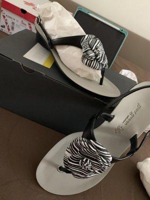Paul Green München Sandalo infradito nero-bianco Pelle