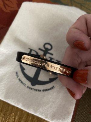 Paul Hewitt Bracelet en cuir noir-doré