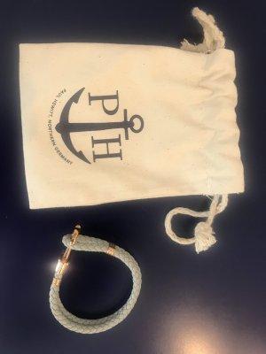 Paul Hewitt Bracelet en cuir gris-doré