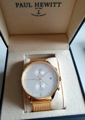 Paul Hewitt Reloj con pulsera metálica blanco-color oro